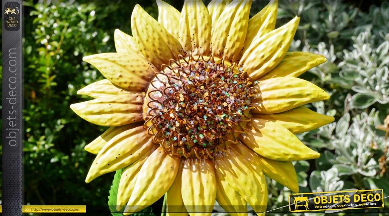 Série de 3 tournesols décoratifs en métal, à ficher dans le sol pour un usage extérieur, esprit fleurs éternelles, 88cm