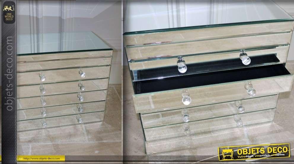 Meuble bijoux six compartiments habill de miroirs for Miroirs grandes dimensions