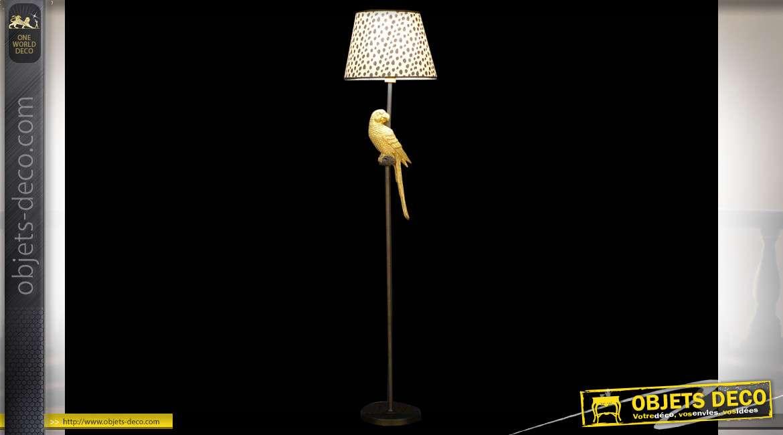 LAMPADAIRE MÉTAL COTON 37X37X164 PERROQUET NOIR