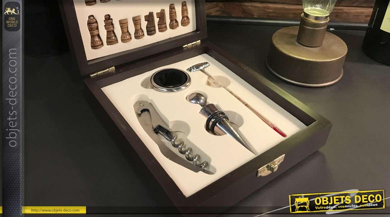 Coffret de 4 accessoires pour le vin avec marqueterie de jeu d'échecs et pièces, esprit découverte et jeu, 15cm