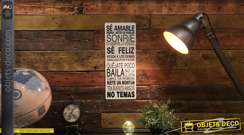 Plaque murale en métal avec règles de vie inscrites en espagnol, fond blanc et lettrage noir, 50cm