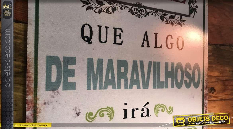 Plaque murale en métal avec message d'espoir inscrit en portugais, finition colorée effet usé vintage, 33cm