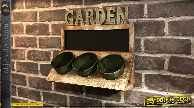 Jardinière murale en bois avec 3 pots en métal, partie tableau noir pour message à la craie, finition vintage, 35cm