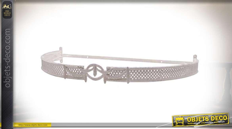 Ciel de lit en métal façon fer forgé patine blanc cassé 73 cm