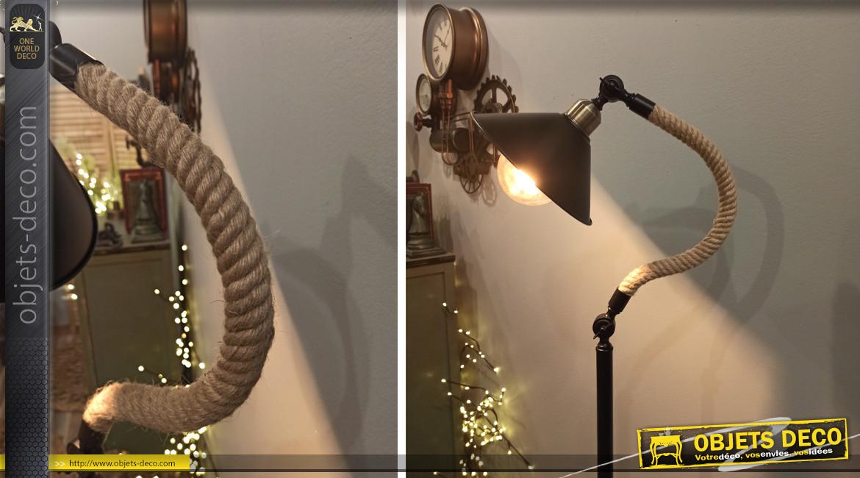 Lampadaire industriel en métal noir et cordage de chanvre 150 cm