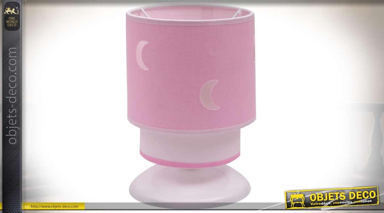 Lampe de chevet rose cylindrique pour chambre de bébé