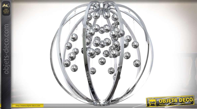 Suspension design en forme de sphère avec boules chromées Ø 45 cm