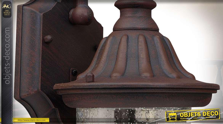 Lanterne extérieur en applique style vintage en aluminium patine brun ambré 38 cm