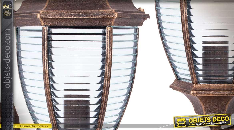 Lanterne extérieur hexagonale rétro en aluminium coloris bronze cuivré 49 cm