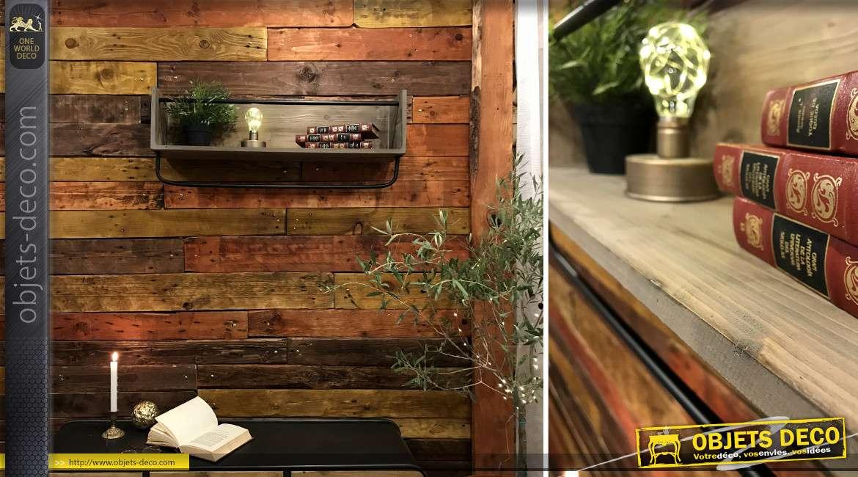Etagère en bois et métal de style rustico industriel, finition noire et brute, 80cm de longueur finale