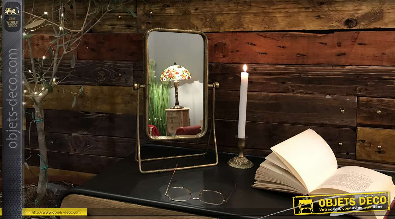 Miroir de table en métal, forme rectangulaire inclinable finition doré ancien, ambiance rétro de 38cm