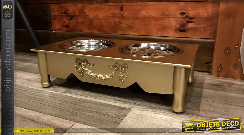 Gamelle pour chien en bois et bols en inox, finition doré ancien effet brossé, chic et élégant, 2 x 0,5L