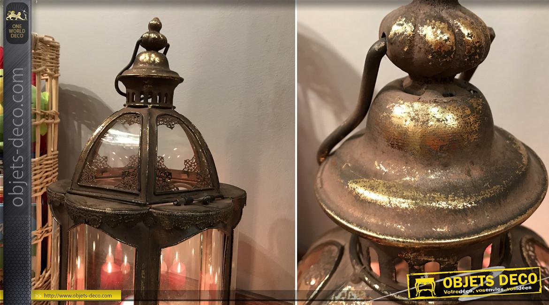 Lanterne en métal finition vieux doré, forme hexagonale avec verres entièrement bombés, Ø27cm
