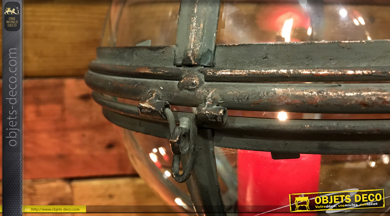 Lanterne sphérique à suspendre, en métal finition bronze vieilli et reflets dorés, élégance et raffinement Ø26cm
