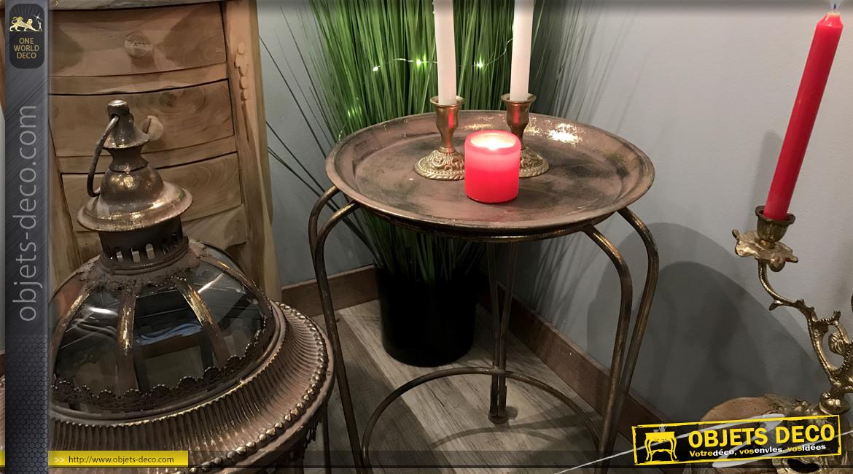 Grande lanterne en métal et verre de 118cm, finition dorée avec reflets bronze, ambiance baroque chic