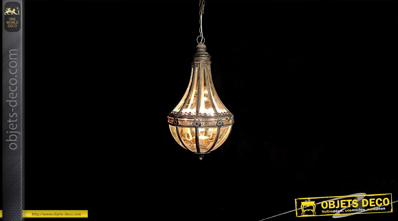 Suspension moderne en métal et verre, forme de lustre montgolfière finition brune reflets dorés, 67cm