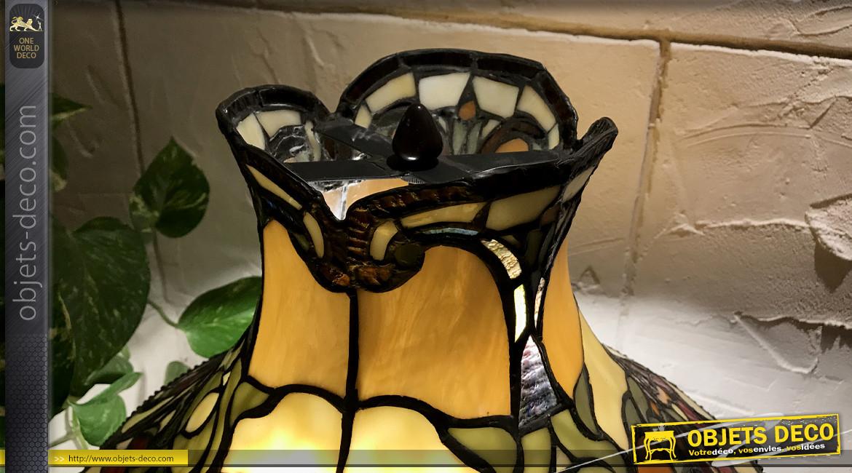 Grande lampe de salon de style Tiffany, ambiance rétro cabaret des années 20, Ø51cm