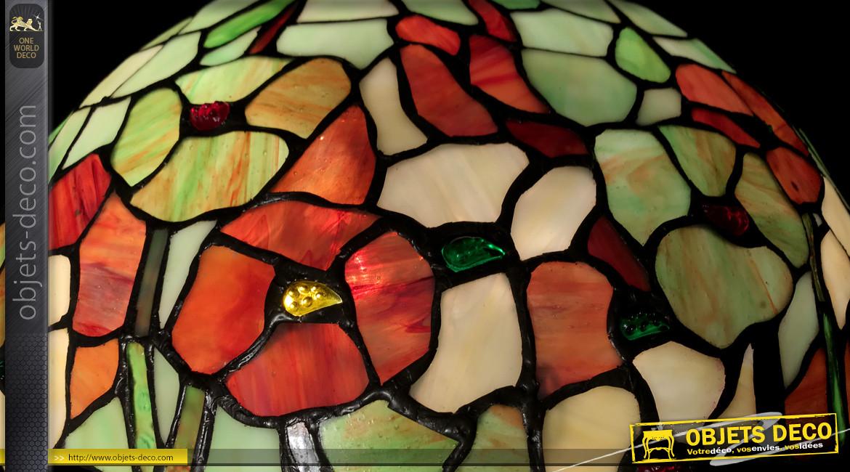 Lampe à poser Tiffany, représentation d'un champs de coquelicots et papillons, ambiance campagne vintage, Ø40cm