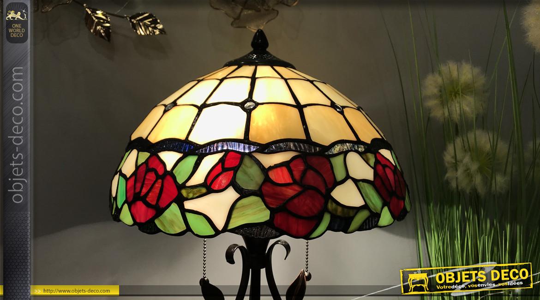 Lampe de salon Tiffany, représentation d'une roseraie fleurie avec base minutieusement travaillée, Ø35cm