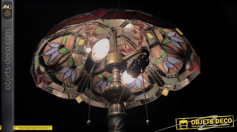 Lampe Tiffany de Ø40cm, motifs de fleurs du paradis ambiance Jardin d'Eden, 54cm
