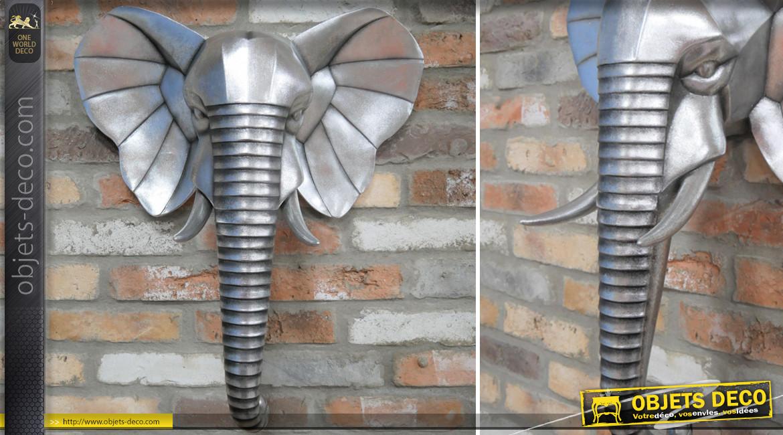 Trophée mural en résine en forme de tête d'éléphant, effet métal vieilli, ambiance safari, 70cm
