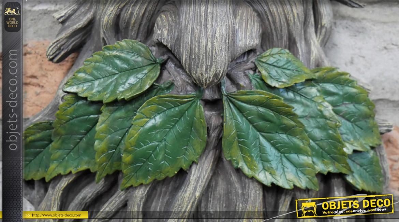 Déco murale en résine en forme de tronc d'arbre, ambiance féerique contes de fées, feuilles en métal, 63cm