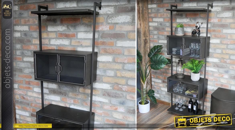 Etagère de salon en métal finition noir charbon, ambiance épurée avec 2 compartiments vitrés, 180cm