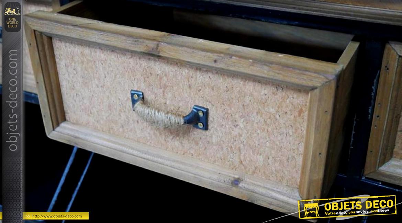 Console de rangement en bois de sapin et métal finition noir vieilli, compartimentée, de style industriel, façades en liège, 93cm