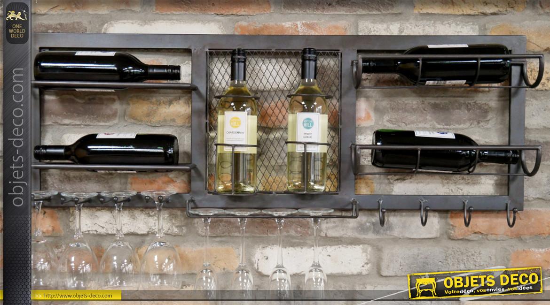 Rangement mural horizontal pour 6 bouteilles de vin, 8 verres et 4 crochets de suspension, en métal finition gris anthracite, ambiance indus, 100cm