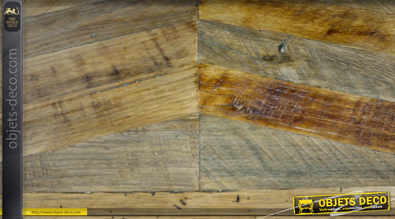 Banc de salon en bois de bouleau recyclé, finition usée esprit point de Hongrie, 160cm