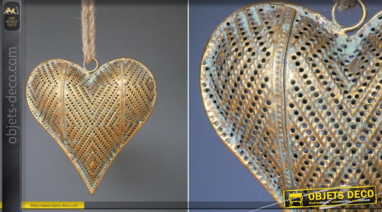 Coeur de taille moyenne en métal finition vieux doré, à suspendre, ambiance romantique vieille maison, Ø15cm