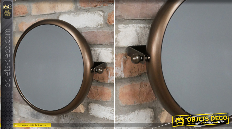 Miroir mural en métal pour salle de bain, modèle inclinable finition brun noisette aux reflets cuivrés, Ø40cm