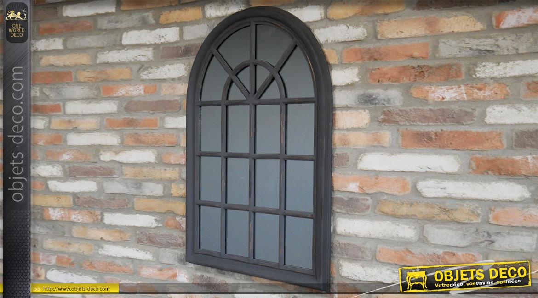 Grand miroir fenêtre en bois, finition noir charbon effet vieilli, ambiance romantico moderne, 102cm