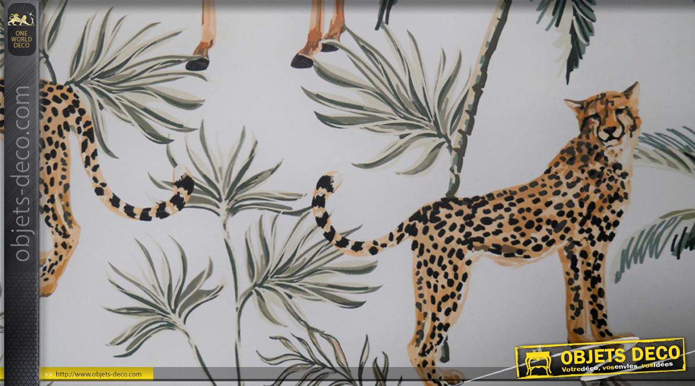 Meuble étagère en métal avec porte vitrée, finition noir charbon et fond imprimé safari, 68cm