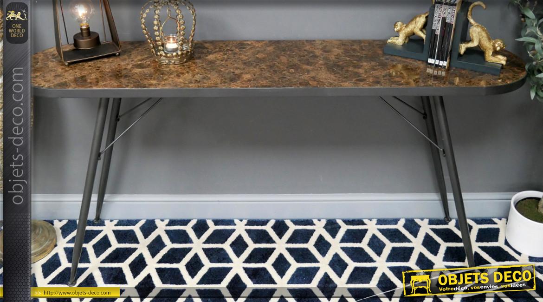 Grande console en métal et marbre, finition anthracite et pierre richement texturée, ambiance contemporaine belles matières, 160cm