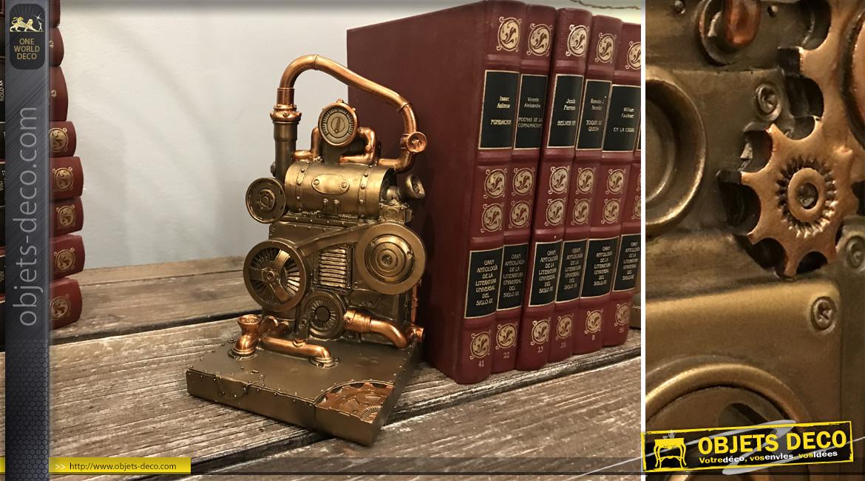 Paire de serre-livres en résine ambiance robot machine, finition laiton avec notes cuivrées, 19cm