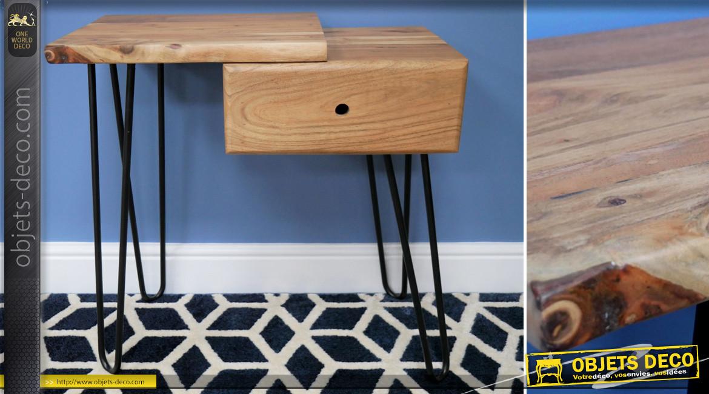 Table d'appoint en bois d'acacia massif, pieds en métal finition noir charbon, plateau richement veiné, ambiance rustico moderne, 60cm