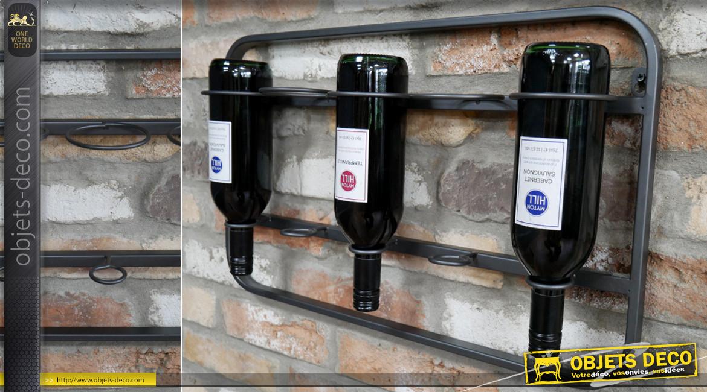 Support mural en métal pour exposition de 6 bouteilles de vin, finition acier anthracite, ambiance bodega, 60cm