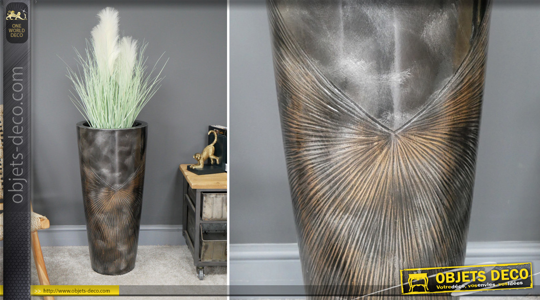 Grand cache pot de 71cm de haut, finition métal anthracite effet brossé, en résine, ambiance indus chic, Ø33cm