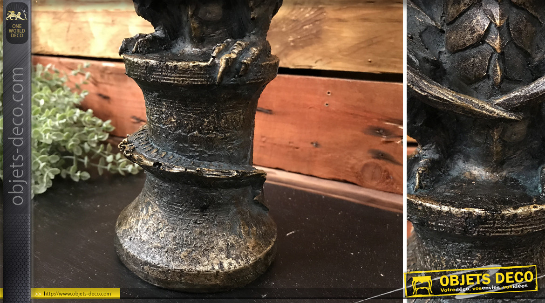 Chandelier en résine en forme de dragon, ambiance gargouille, finition métal oxydé, 35cm