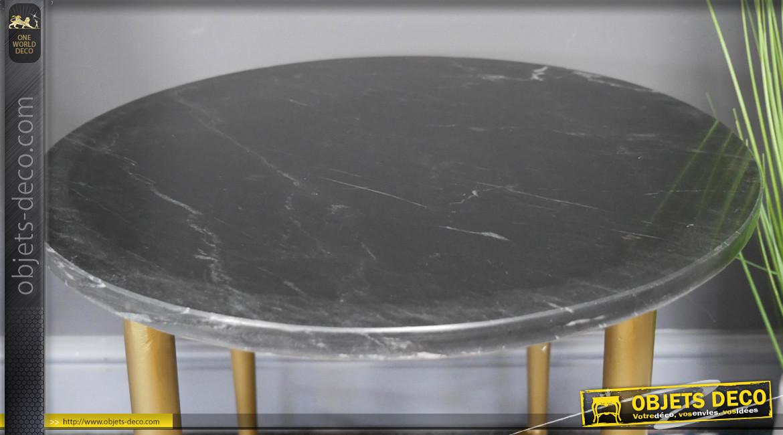Table d'appoint en métal et marbre, finition laiton et plateau en pierre massive gris lustré brillant, ambiance belles matières, Ø43cm