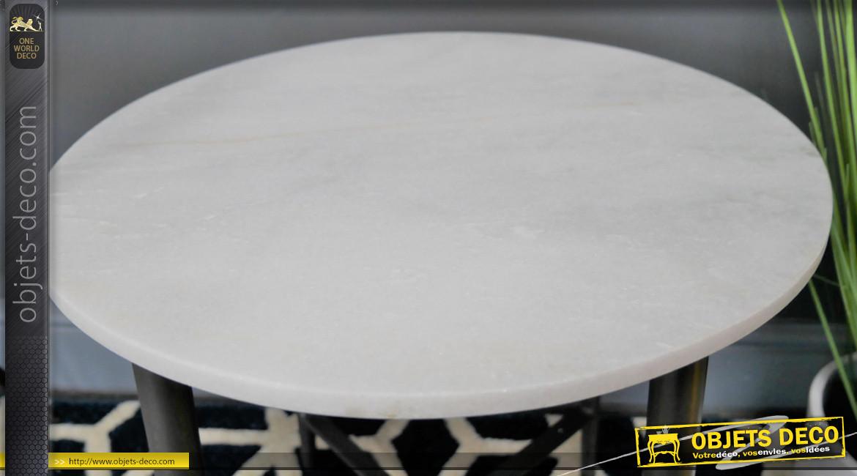 Table auxiliaire en métal et marbre, finition ancier anthracite et plateau en pierre massive blanche éclatante, Ø43cm