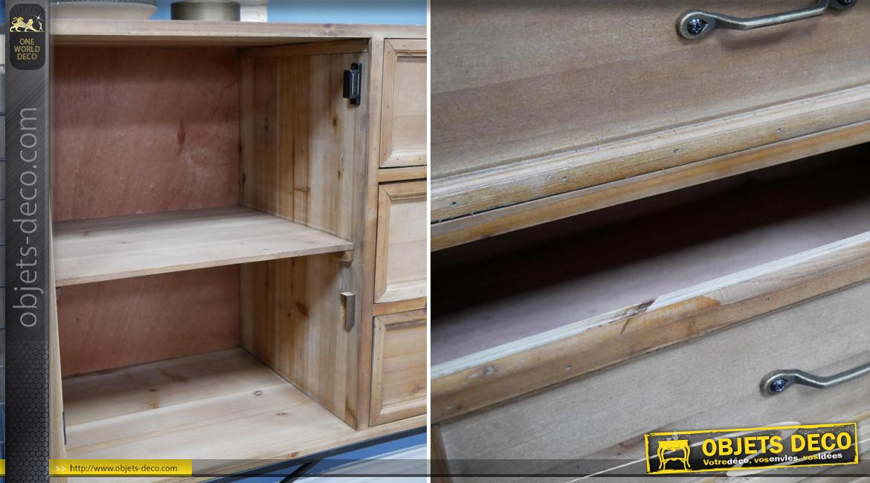 Meuble de salon en bois et métal de style rustique, 3 tiroirs et 2 portes vitrées, ambiance vieille ferme, 120cm