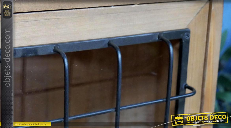 Vitrine d'appoint en bois et métal, portes vitrées et grillagées ambiance clapier d'ancienne ferme, 142cm