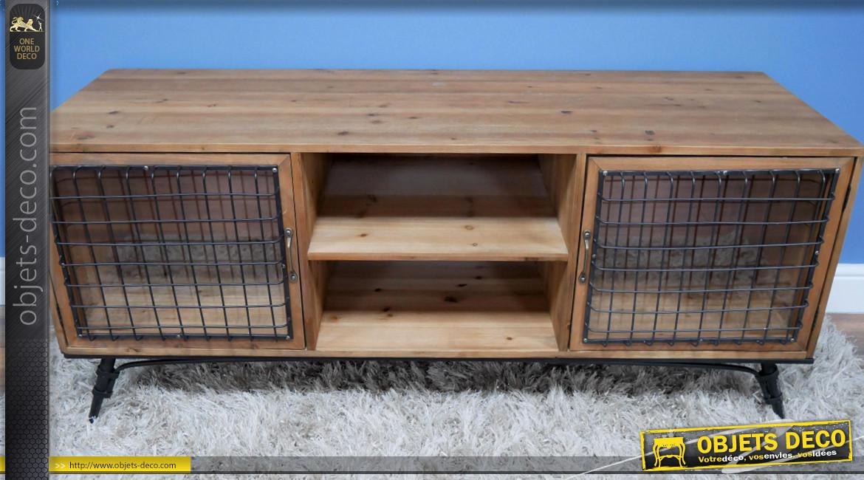 Meuble TV en bois et métal style ancienne ferme, ambiance rustique ancien clapier, 135cm de long
