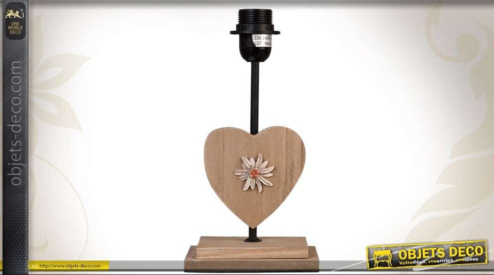 Pied de lampe en bois et métal coeur avec fleur