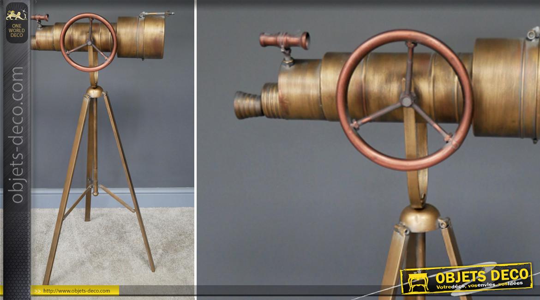 Horloge trépied en métal finition laiton effet brossé, forme de télescope ajustable, ambiance astronomie, 105cm