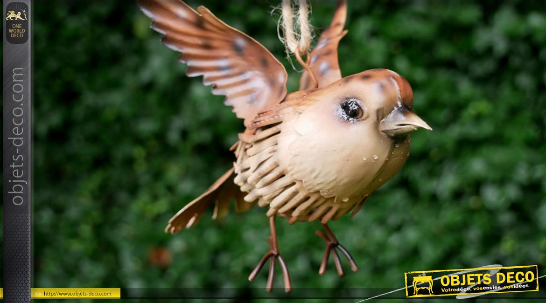 Oiseau en métal à suspendre, en métal finition crème brun, ambiance champêtre, 17cm