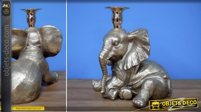 Chandelier en résine représentant un éléphant, finition chrome effet brossé vieilli, ambiance safari moderne, 20cm