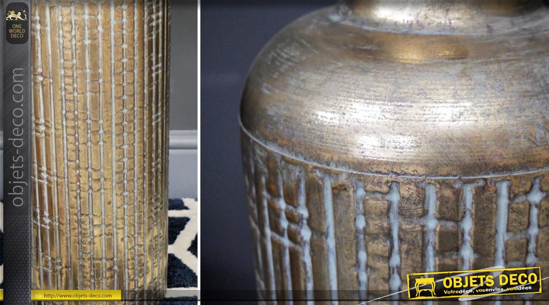 Vase haut en métal à motifs striés, finition chromé effet vieilli, en relief, Ø19cm
